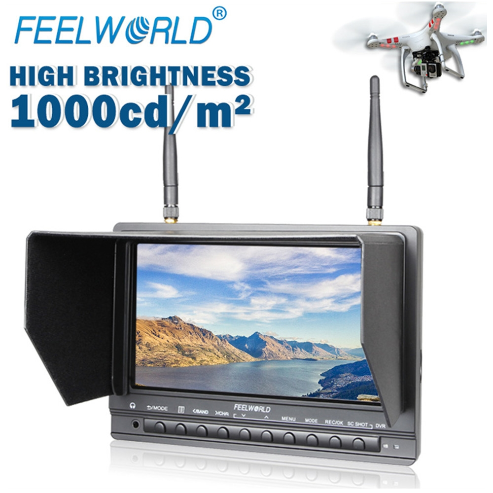 Feelworld PVR733 7 Inch FPV Monitor with DVR Function Dual 5.8G 32CH Diversity Receiver Wireless Monitor UAV Drone Monitor
