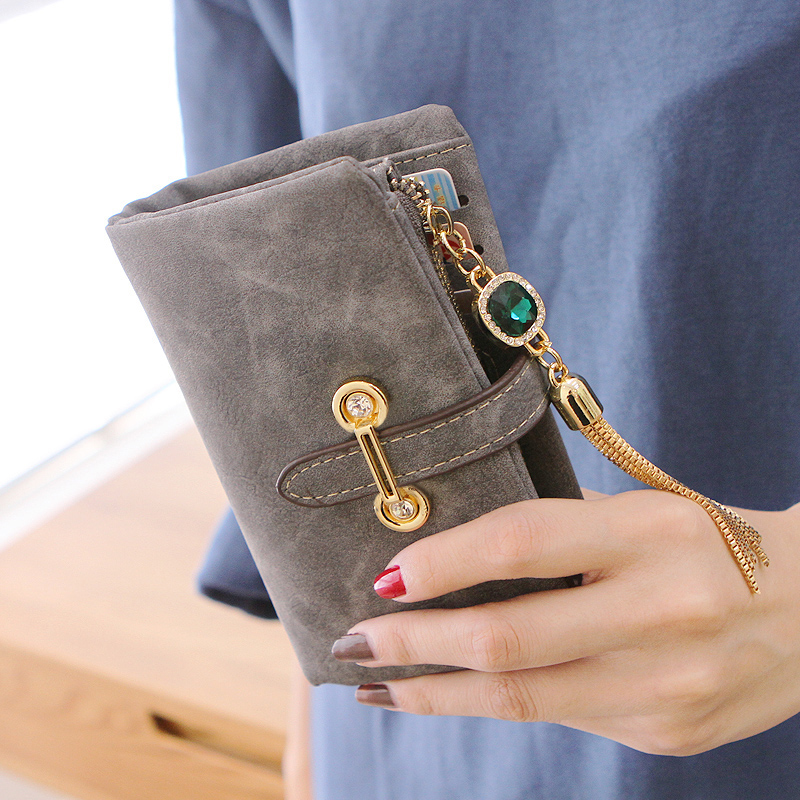 Retro Leather Women Wallets Female Wristlet Zipper Small Girl Wallet Money Mini Coin Purse Holders Ladies Wallet and Purses 2018