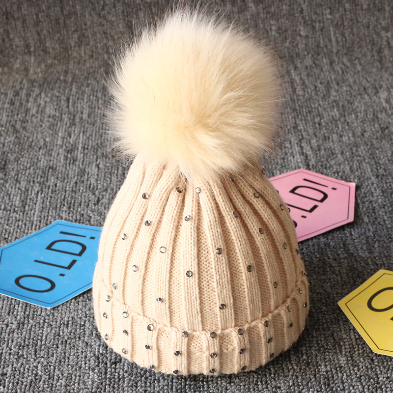 2ae1605b6 Shop Newborn Baby Boys Girls Winter Warm Double Fur Pom Bobble Knit ...