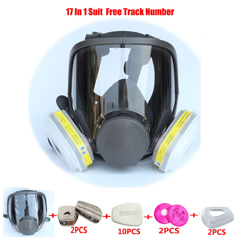 17 In 1 Suit Painting Spraying Chemcial Laboratories Respirator Gas Mask Same For 3 M 6800 Gas Mask Full Face Respirator sjl painting spraying respirator gas mask same for 3 m 6800 gas mask full face facepiece laboratories dust mask respirator