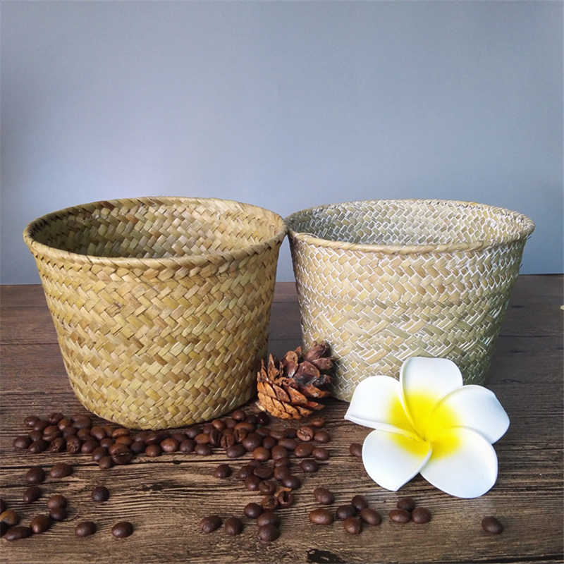 1pc Bamboo Storage Baskets Straw Patchwork Handmade Laundry Wicker Rattan Seagrass Belly Garden Flower Kitchen Storage Basket