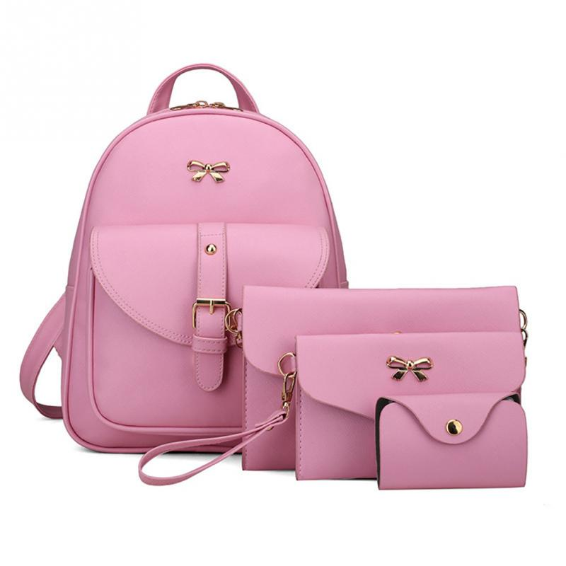 4pcs/set Composite Bag Women Pu Leather Bowknot Backpack School Bags For Teenage Girls Shoulder Bag Clutches Purse Mochila Mujer