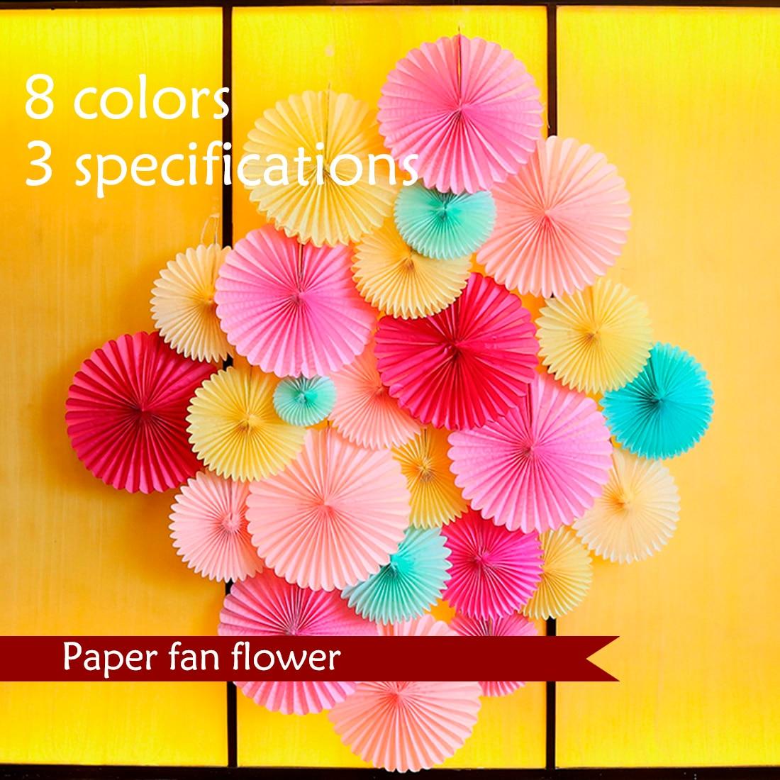 New 5pcs Tissue Paper Fan Diy Crafts Hanging Wedding: Tissue Paper Crafts Fans DIY Hanging Flowers Birthday