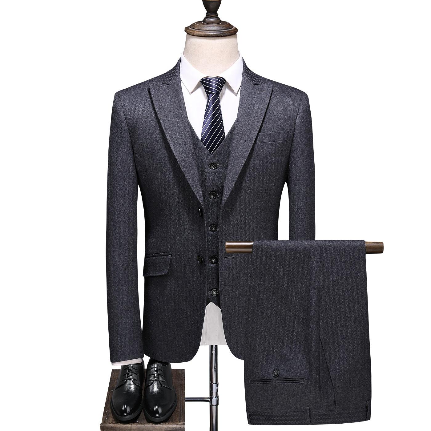 (Blazer+Vest+Pants) Mens Wedding Suit Male Blazers Slim Fit Suits For Men Costume Business Formal Party Classic , Gray / S-5XL