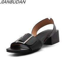JIANBUDAN Metal buckle fashion elegant ladies with sandals high-quality pu anti-skid professional high-heeled 2019 34-43