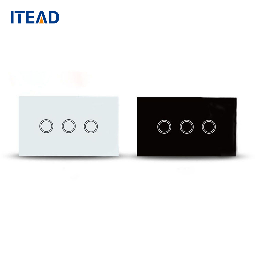 цена на US Wall Light Touch Switch Panel On/Off Sensor Three Gang One Way Waterproof Home 240V Controller Switch Plate