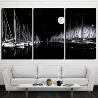 3 piece canvas painting sailboats black and white painting wall art posters and prints picture for living room decor no framed