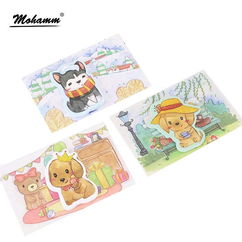 30sheets/lot Cute Kawaii Creative Dogs Notebook Memo Pad Self-Adhesive Sticky Notes Office School Supplies  Memo Pad