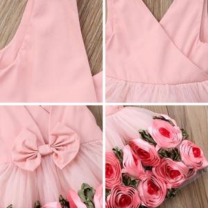 Image 5 - Girls Party Dresses V Neck with Bow kids dresses for girls Rose Decoration Edge Sleeveless Dress Children Wedding Dress