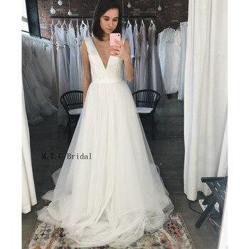 New 2019 Tulle Long Wedding Dresses V Neck Sleeveless A Line Floor Length Graceful Bridal Gowns Custom Made Vestido De Casamento