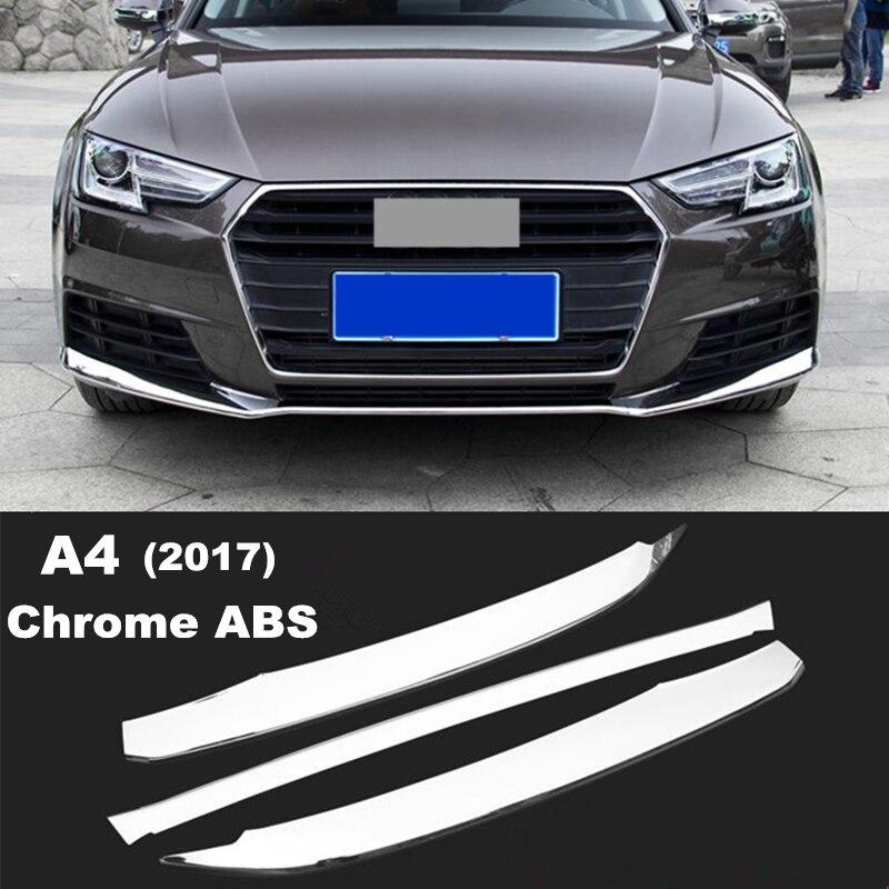 Prix pour 3 pcs Chrome ABS Pare-chocs Avant garniture bandes paillettes Voiture taille moulage extérieur accessoires 3D autocollants pour Audi A4 2017