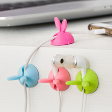 12PCS/lot Cord Holder Cute Rabbit ears clamp Cable Wire Organizer Cable Clip Tidy USB Charger Line Storage