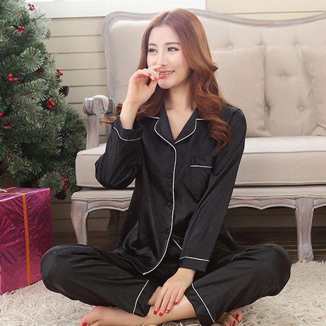 Spring Black Female Solid 2PCS Nightwear Suit Faux Silk Pajamas Long Sleeve Women Sleep Set Casual Home Wear Negligee M-XXL