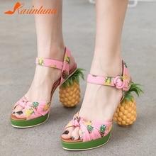 New Fashion Fruit Print Pineapple Ladies High Heels Sandals Woman Summer Platform Women Shoes Size 34-40