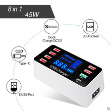 все цены на Quick Charge 3.0 Smart USB Type C Charger desk Station 45W 5v 8 ports Fast Charging Phone Tablet USB Charger For iPhone Samsung