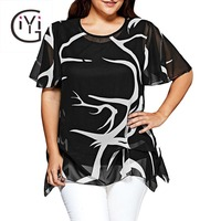 GIYI Plus Size 5xl 4xl Print Chiffon Blouse Shirt Women Oversized Clothing Short Sleeve Loose Asymmetrical Top Summer 2017 Black