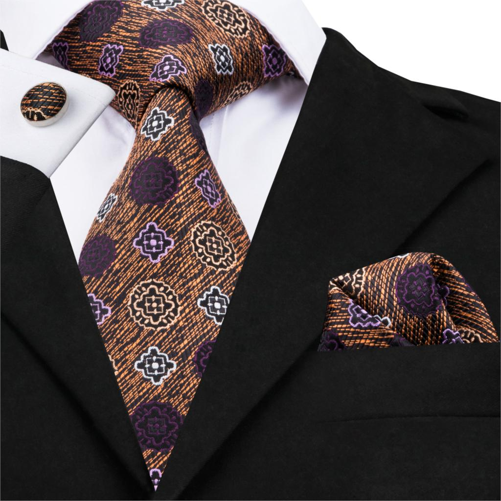 SN-1649 Fashion Mens Ties Set Cravate Luxe Pour Homme Men's Silk Ties For Men Business Neck Tie Handkerchief Cufflinks Suit Tie