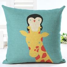 selling penguin type pillowcase linen cushion cover cotton linen wedding gift pillow covers sofa pillow penguin