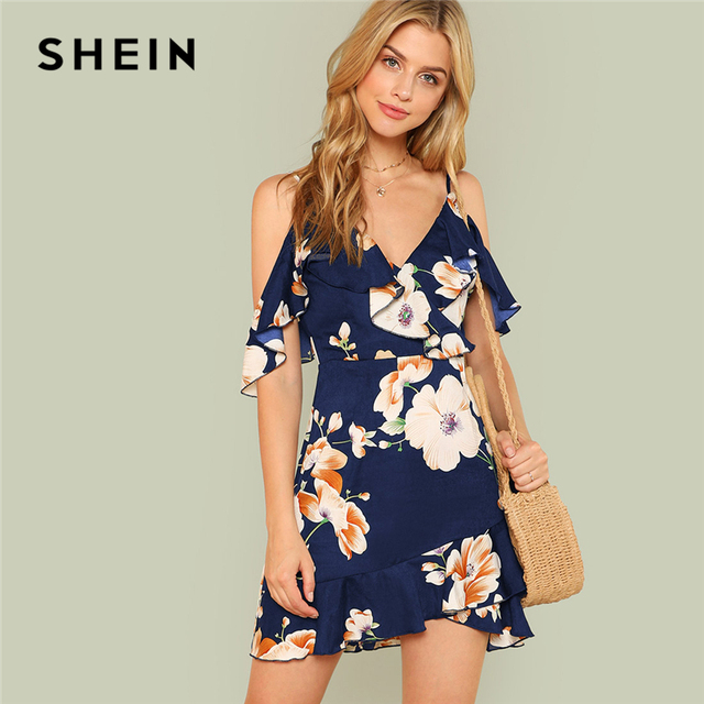 SHEIN Multicolor Vacation Backless Boho Bohemian Beach Flounce Cold Shoulder Floral Print Dress Summer Women Casual Dress