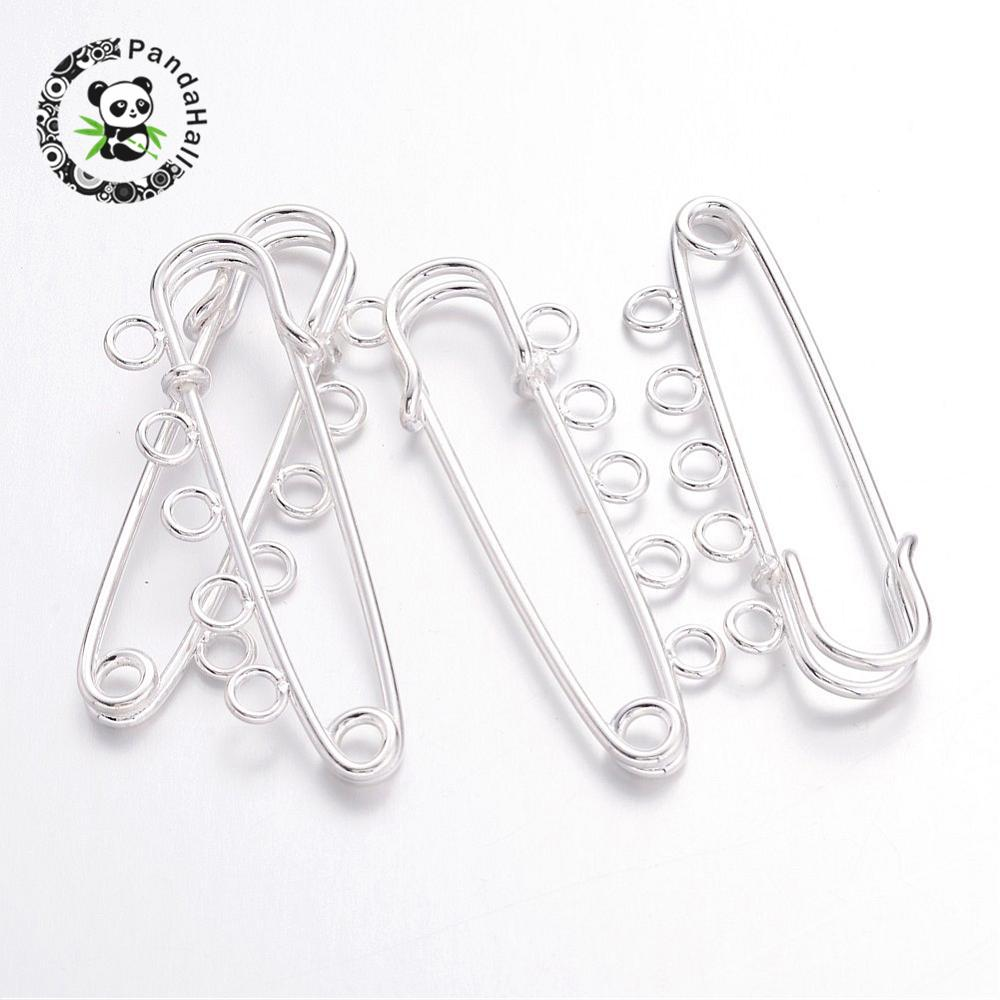 10pcs Iron Kilt Pins Silver Brooch Findings for jewelry making DIY, 16x50mm