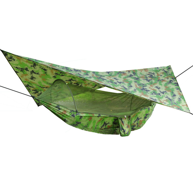 Outdoor Pop-Up Netting Hammock Tent With Waterproof Canopy Awning Set  Automatic Quick Opening Mosquito Free Hammock Portable 1