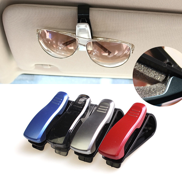 2x New Car Glasses Sunglasses Holder Visor Card Clip four Colors Model with glasses clip auto paper folder folder car glasses