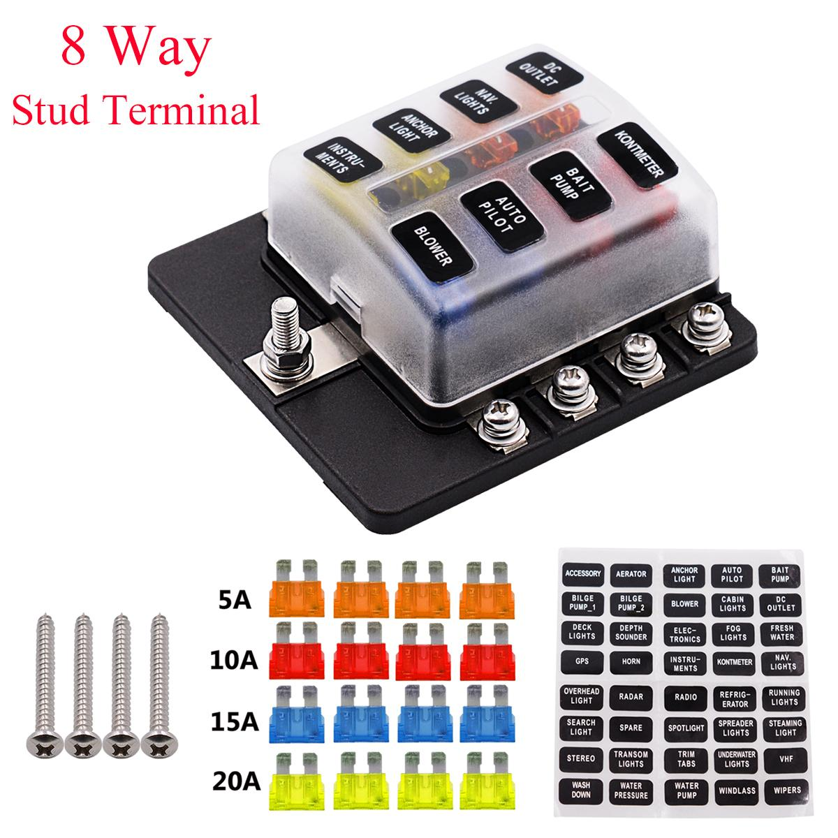 Universal 8 Way Fuse Box 12V 32V Circuit Standard Blade Block Holder font b Car b car covers caravan promotion shop for promotional car covers car fuse box cover at gsmx.co