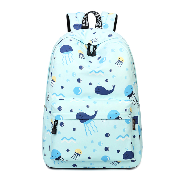 Waterproof Lightweight Cute Blue Whale Pattern School Backpack Fish Enchanting Whale Pattern