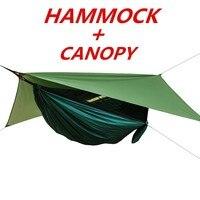 1 ชุดตาข่าย Hammock + หลังคาเต็นท์สำหรับ Camping กลางแจ้งแบบพกพายุงฟรี Rain Fly Tarp ร่มชูชีพ Swing เตียงกันน้ำ