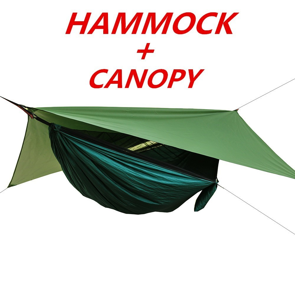 Outdoor Hammock Canopy Sun Rain Fly Tarp Camping Hanging Bed Tent /& Mosquito Net