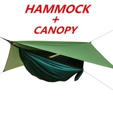 1 Set Of Netting Hammock+Canopy Tent For Outdoor Camping Portable Mosquito Free Rain Fly Tarp Parachute Swing Bed Waterproof