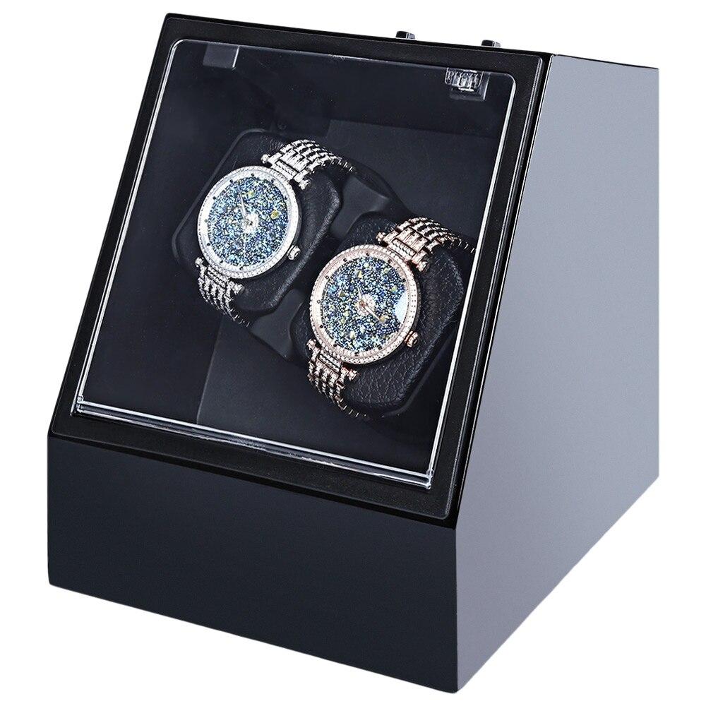 Dobadoura do Relógio de Madeira Relógio de Pulso da Caixa Transparente com Plugue da ue Auto Silencioso Forma Irregular Tampa