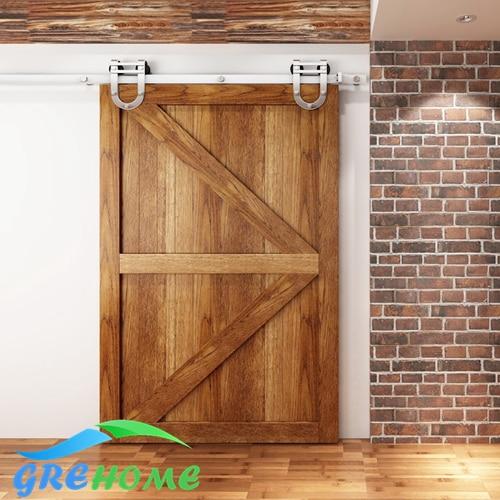 4.9FT/6FT/6.6FT Stainless steel interior sliding barn wood entry sliding door fittings 4 9ft 6ft 6 6ft carbon steel bypass barn wood sliding door system