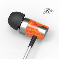 Headphone Blon B3s Dynamic And Armature 2 Unit Wood Earbuds HIFI Red Moving Iron Coil In