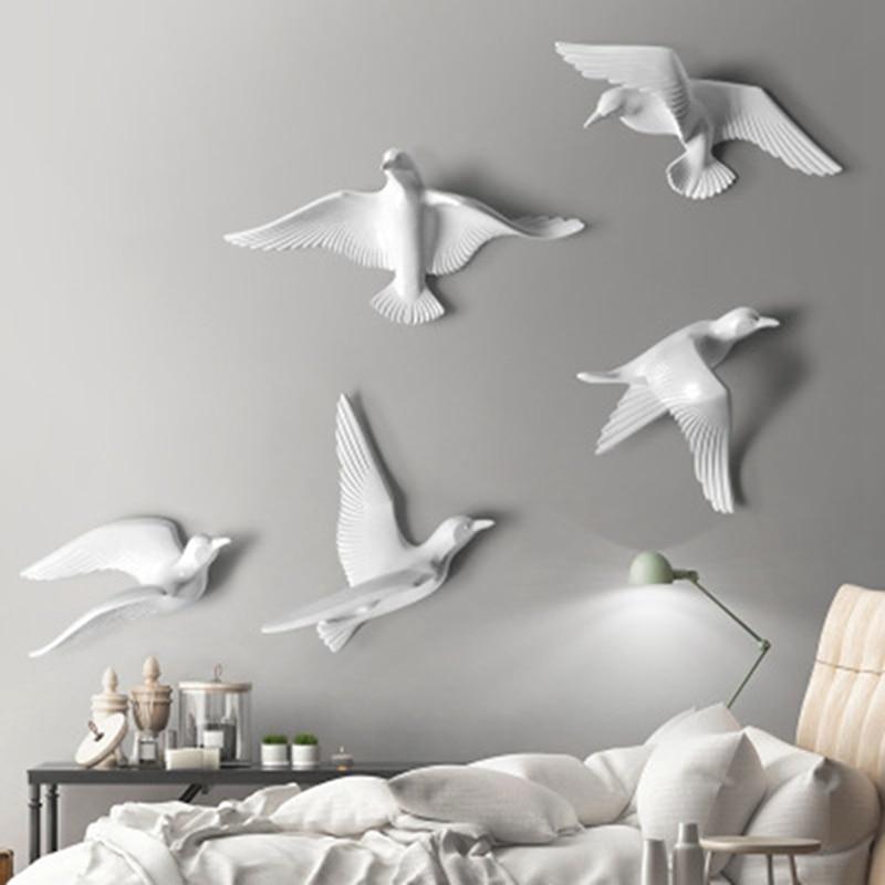 5 pièces résine oiseau créatif peintures murales décoration en trois dimensions chambre stickers muraux TV fond décorations murales