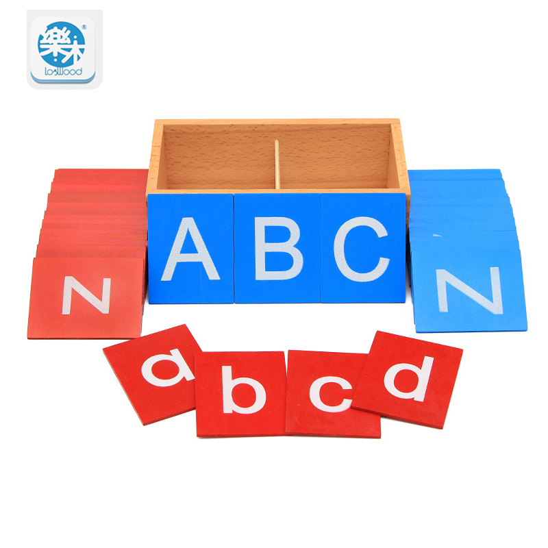 Baby wooden Toys Montessori Lower And Capital Case Sandpaper Letters Boxes Wooden Toys Child Educational Early Development Gifts цена 2017