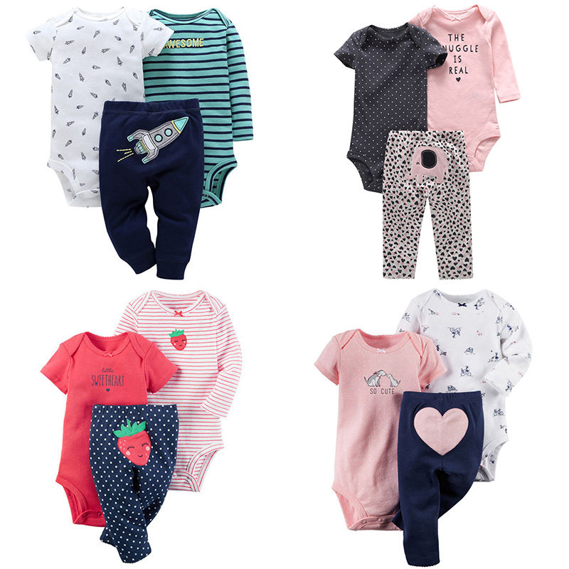 793404d446eb3 2019 New Infant Baby Girl Clothes 3Pcs Cute Romper + Trousers Newborn Baby  Boy Outfit Costume Toddler Clothing Suit