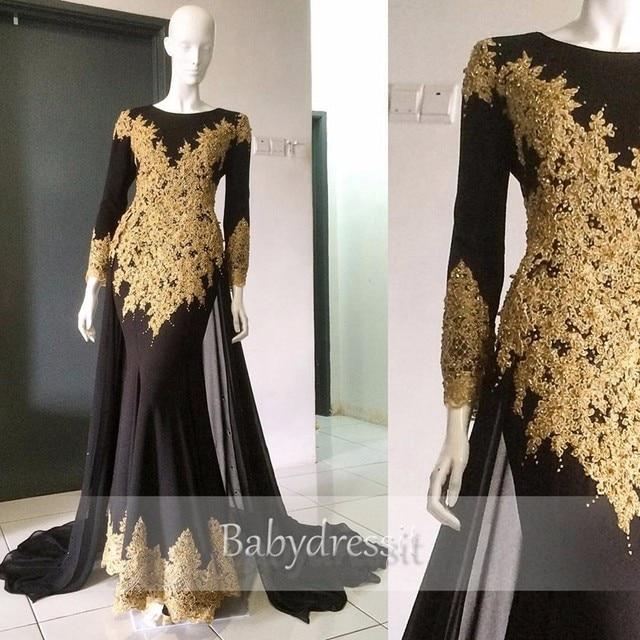 Designer Black Long Arabic Evening Dresses Long Sleeve Gold Lace ...