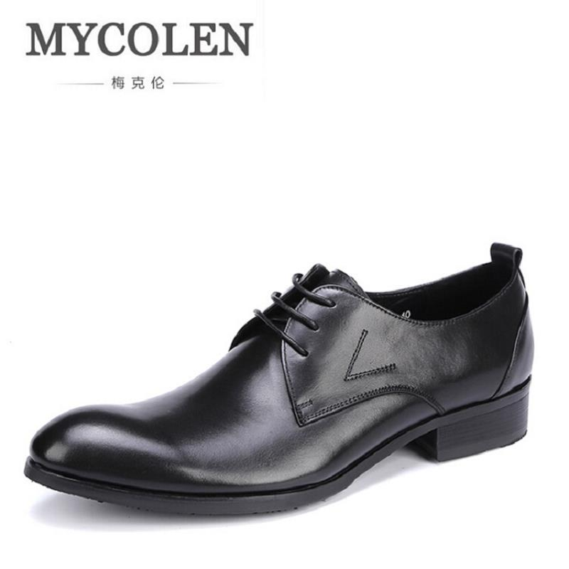 MYCOLEN Men Leather Dress Shoes Fashion Breathable Business Wedding Shoes British Style Lace-Up Flat Shoe Mens Oxfords zapatos high quality men s shoes genuine leather british style mens loafers lace up business men oxfords shoes wedding dress flats shoes