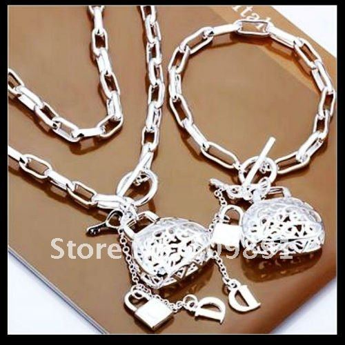 Romantic and Special Hollow Bag & Lock &  Letter D Pendant Necklace Bracelet For Women Anniversary Silver Jewelry Set  YSS5