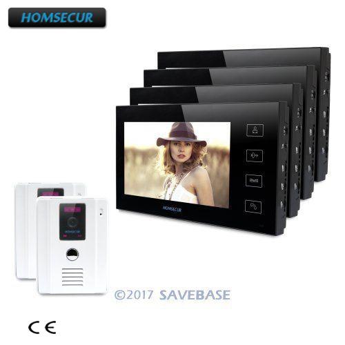 HOMSECUR 7 Door Phone Intercom System + White Camera +Black Monitor for Corner Installation