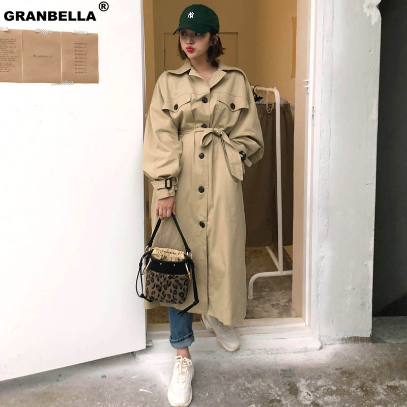 New spring autumn fashion Casual women's khaki   Trench   Coat long Outerwear loose clothes for lady with belt windbreaker raincoat