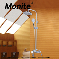 MONITE Bathroom Shower Set Faucets Polish Chrome Wall Mounted With Slide Bar Wall Mounted Shower Set