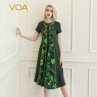 VOA Sand Wash тяжелый шелк четырехлистный клевер цветочный 3D Печатный платье повседневные летние платья Женская одежда с коротким рукавом зелен