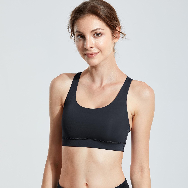 Women/'s Strappy Back Wirefree Padded Workout Yoga Sports Bra