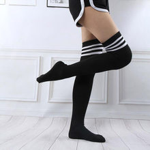 Anime Over Knee Cosplay Stockings Black White Blue Red Stripe Stocking Japanese Cartoon Stockings For Women Girls Cotton Long(China)