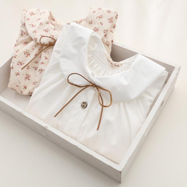 2015 blusas ninas  primavera algodón de manga larga blusas de la muchacha niño camisa linda da vuelta abajo de color sólido superior pequeña solapa de la camisa blusas niña meisjes blouse