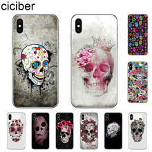 ciciber Retro Style Flower Skull Phone Case For iPhone 7 8 6 6s Plus X XR XS MAX 5S Soft TPU Cover For iPhone 11 Pro Max Coque ciciber dragon ball phone case for iphone 11 pro max xr x xs max tempered glass cover cases for iphone 7 8 6 6s plus funda coque
