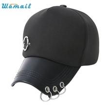Womail Good Deal New Fashion Unisex Women Men Black Baseball Cap Solid Hat Adjustable Round ring Hip Hop Flat Hat Gift 1PC