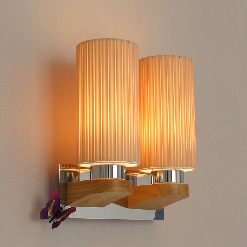 Simple Modern Wooden LED Wall Lamp With 2 lights Fixtures ...